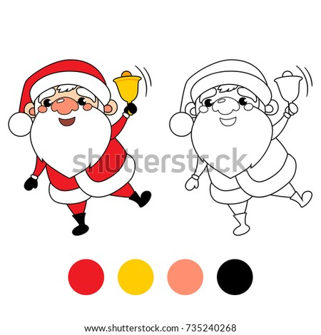 Santa Claus With Christmas Bell Coloring Book Page Cartoon Vector Illustration Game For
