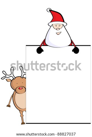 Santa Claus with christmas deer - stock vector