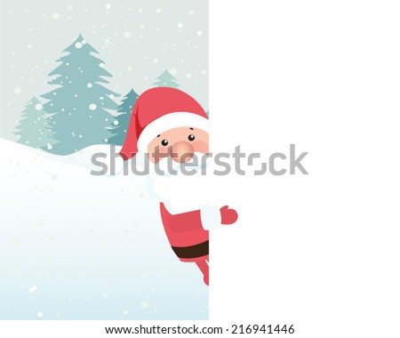 Santa claus with copy space. Can be used for retro christmas card. Vector illustration.