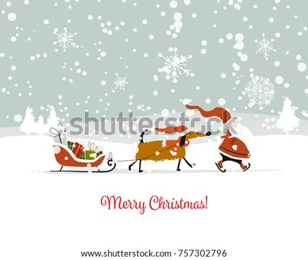 Santa Claus with dog, symbol of 2018. Christmas card