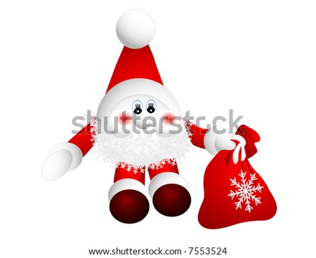 Santa Claus with gift bag, vector illustration, EPS file included