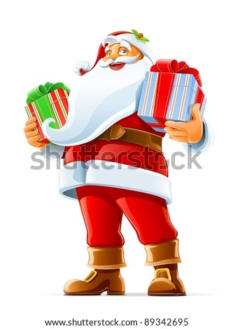 Santa Claus with gift vector illustration isolated on white background - stock vector