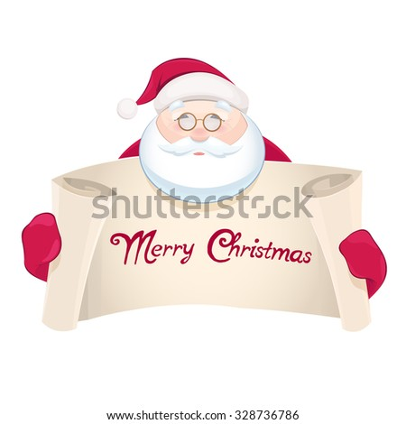 Santa Claus with greetings banner - stock vector