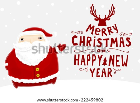 Santa claus merry christmas label holiday stock vector hd royalty santa claus with merry christmas label for holiday invitations and greeting cards xmas poster m4hsunfo