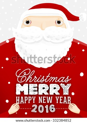 Santa Claus with Merry Christmas Label for Holiday Invitations and Greeting Cards. Xmas Poster, Banner, Placard or Card Template. Winter Illustration with Snowflakes - stock vector