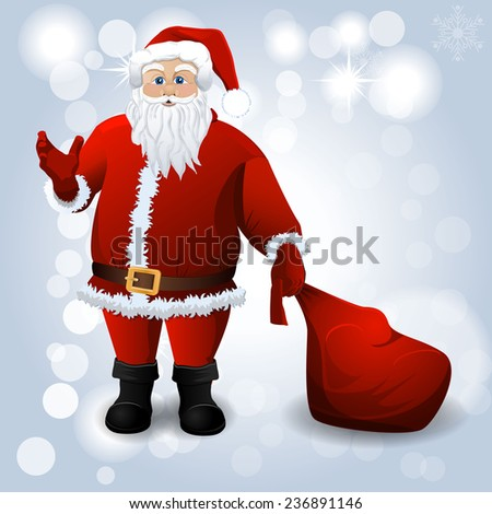Santa Claus with red sack over white. Vector background - stock vector
