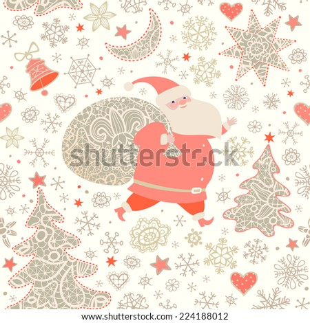 Santa Claus with sack of Christmas gifts.  Seamless pattern with lacy Xmas trees, moon, stars, bell and snowflakes .Christmas background. Vector illustration. - stock vector