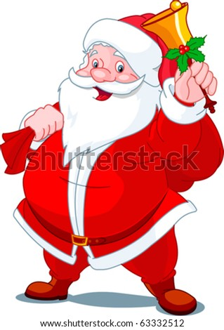 Santa Claus with sack of gifts,  ringing  in a bell - stock vector