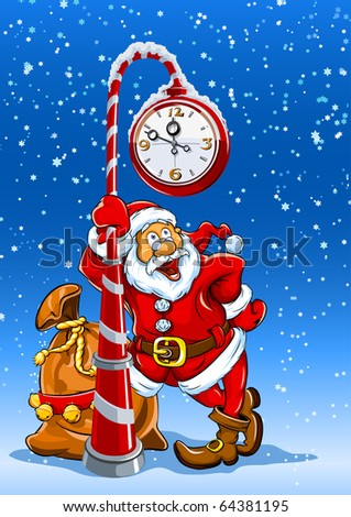 santa claus with sack of gifts stands under the clock vector illustration - stock vector