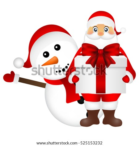 Santa Claus with snowman cartoon with a gift vector