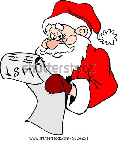 Santa Claus with the List - stock vector