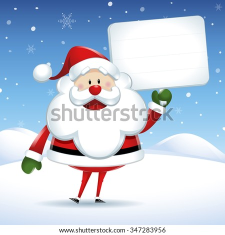Santa Claus with white sign in Christmas snow scene - stock vector