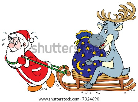 Santa Clause and Reindeer - stock vector