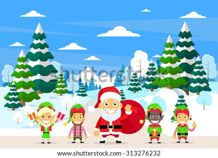 Santa Clause Christmas Elf Cartoon Character Winter Forest Landscape, Pine Snow Trees Woods Flat Vector Illustration - stock vector