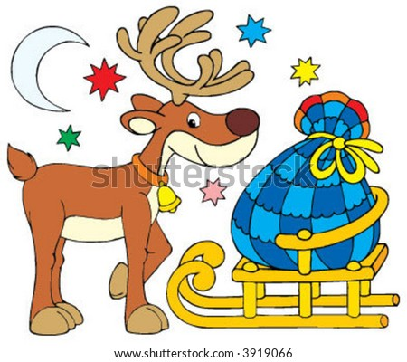 Santa Clause Reindeer - stock vector