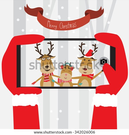 Santa Clause take the mobile photo to Reindeer family vector illustration EPS10.