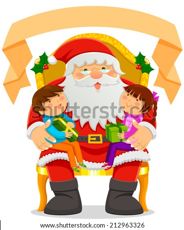 Santa Clause with two kids on his lap and an empty label on top - stock vector