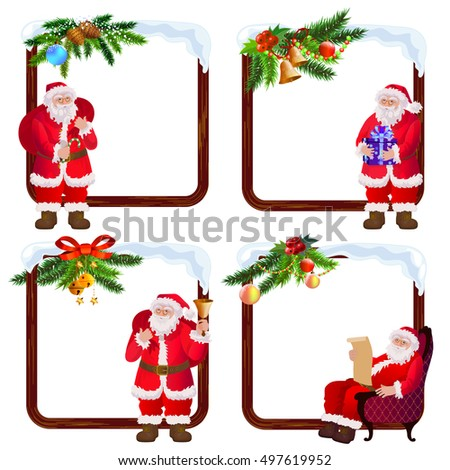 Santa Clauses frames set. Christmas and New Year border with decoration Christmas tree branches.