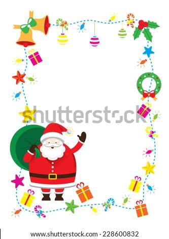 Santa, Decorate, Border & Background - stock vector