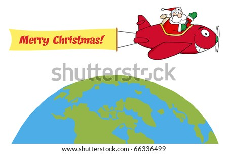 Santa Flying With Christmas Plane Above The Globe - stock vector