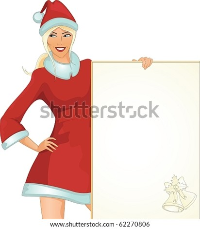 Santa girl with paper - stock vector