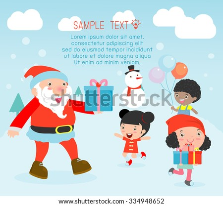 Santa handing out gifts to children,Christmas poster design with Santa Claus, Santa With Kids, Children jumping with joy when met Santa Claus,Merry Christmas,Vector Illustration - stock vector