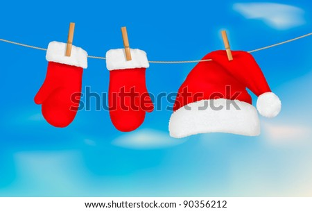 Santa hat and mittens hanging. Christmas background.Vector illustration. - stock vector