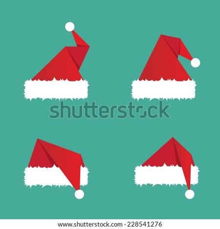 Santa hat flat icon. vector illustration - stock vector