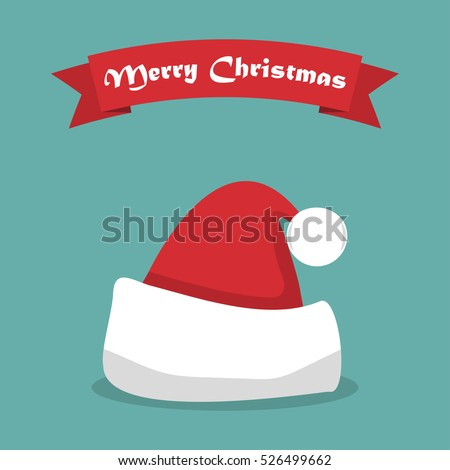 Santa hat with shadow and ribbon in a flat design