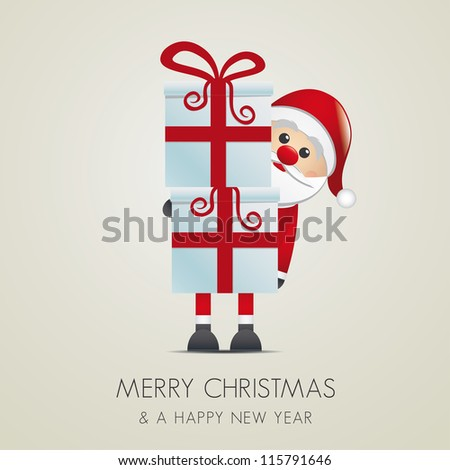 santa hold gift boxes with red ribbon - stock vector