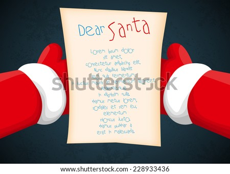 Santa holding a letter - stock vector