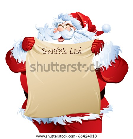 """Santa holding a """"Santa's List"""". - stock vector"""
