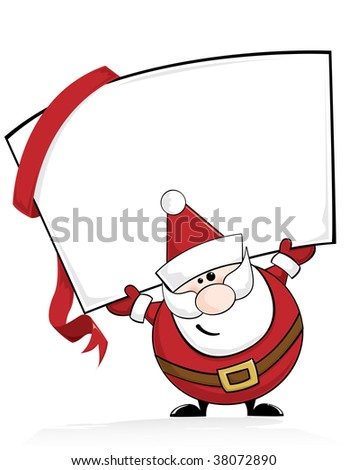 Santa holding a sign - stock vector