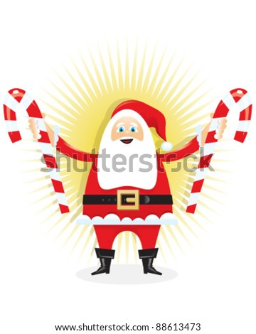 Santa Holding Candy Canes - stock vector