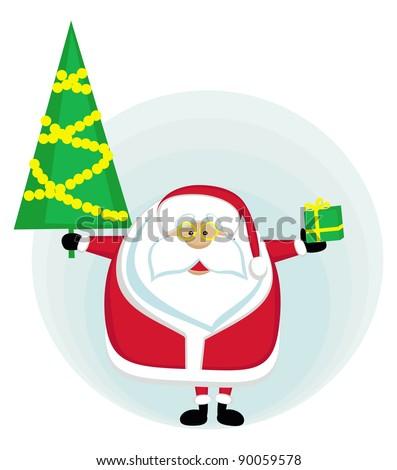 Santa holding Cristmas tree and present. Vector illustration - stock vector