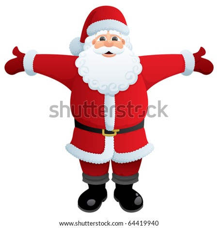 Santa Hug: Santa, ready to give you a hug. No transparency used. Basic (linear) gradients used. - stock vector