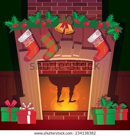 Santa in Christmas fireplace - stock vector