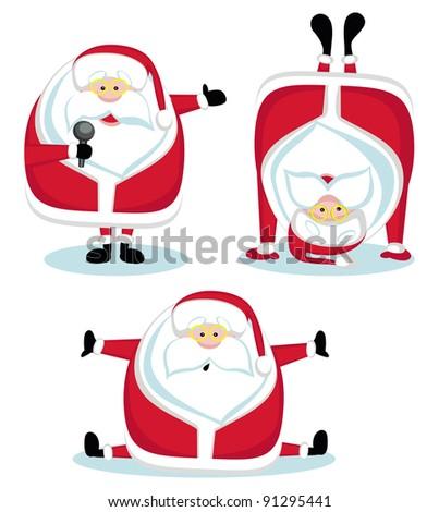 Santa in different positions. Vector illustration - stock vector