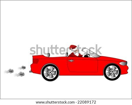 santa in his car - stock vector