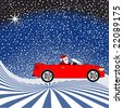 santa in his car on a snowy night - stock photo