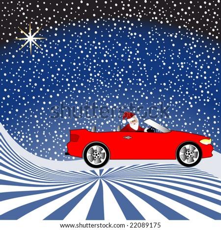 santa in his car on a snowy night - stock vector