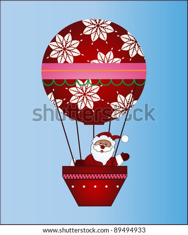Santa in hot air balloon - stock vector