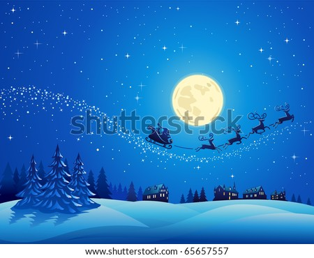 Santa Into the Winter Christmas Night - stock vector