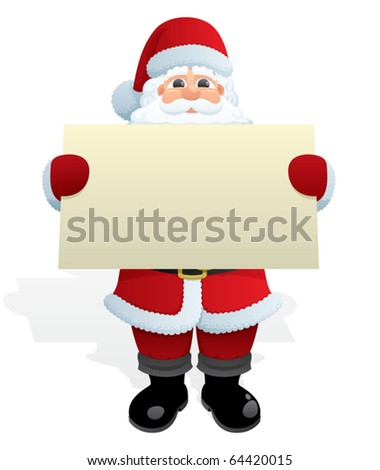 Santa Message: Santa Claus, delivering a Christmas message. No transparency used. Basic (linear) gradients used. - stock vector