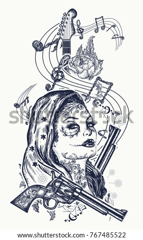 Santa muerte girl and electric guitar, roses and music notes tattoo