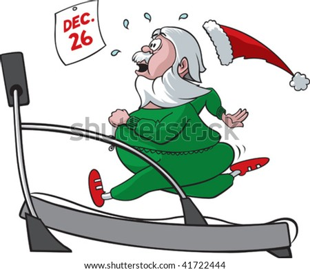 Santa on a treadmill - stock vector