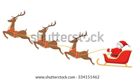 Santa on Sleigh and His Reindeers Isolated on White Background - stock vector