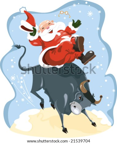 Santa on the rodeo - stock vector