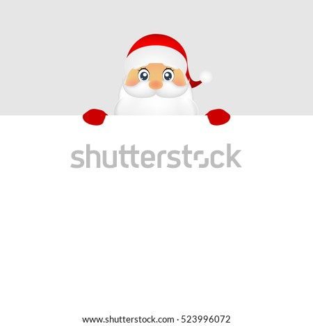 Santa peeping from behind a big white poster