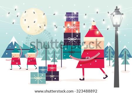santa/ pixies christmas vector/illustration - stock vector
